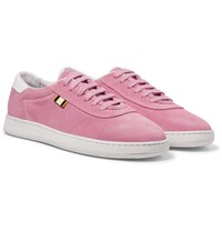 Aprix Leather Trimmed Suede Sneakers Pink