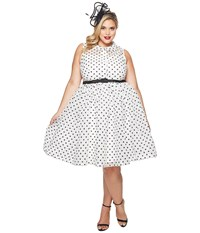 Unique Vintage Plus Size Organza Georgia Swing Dress White Black Dot