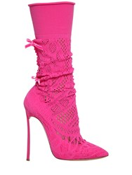 Casadei 120Mm Stretch Knit Boots Fuchsia