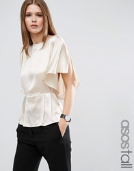 Asos Tall Kimono Sleeve Blouse In Satin Champagne Cream