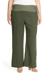 Plus Size Women's Xcvi Wearables 'Redlands' Wide Leg Linen Pants Leaf