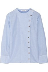 J.W.Anderson Striped Cotton And Linen Blend Shirt Blue