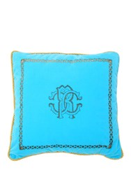 Roberto Cavalli Venezia Cotton Accent Pillow Blue