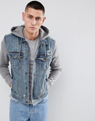 Hollister Hooded Denim Jacket With Grey Sweat Sleeves And Hood In Mid Wash Mid Wash Blue