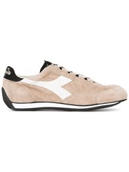 Diadora Panelled Lace Up Sneakers Men Cotton Leather Suede Rubber 11 Nude Neutrals