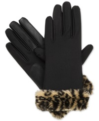 Isotoner Signature Boxed Fur Cuff Spandex Tech Touch Gloves Leopard