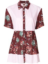 I'm Isola Marras Floral Print Panelled Shirt Pink And Purple