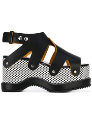 Proenza Schouler Checked Platform Sandals Women Calf Leather Leather Rubber 36 Black