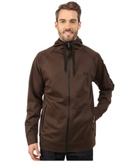 Cinch Full Zip Hoodie W Raglan Sleeve Brown Men's Sweatshirt