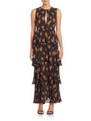 A.L.C. Arias Keyhole Tiered Maxi Dress Black Camel Green