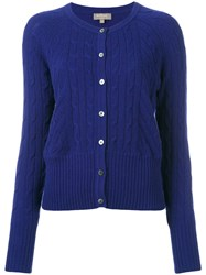N.Peal Cropped Cable Cardigan Blue