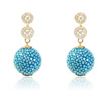 Latelita London Stingray Ball Earring With Zircon Ocean Blue Gold
