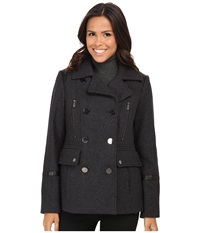 Michael Michael Kors Wool Peacoat W Faux Leather Charcoal Women's Coat Gray