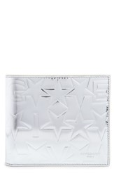 Givenchy Men's Embossed Leather Wallet Metallic Silver