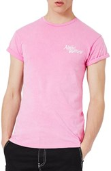 Topman Men's Muscle Fit Embroidered New Wave T Shirt Pink