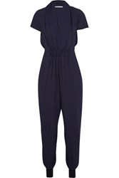 Stella Mccartney Aio Silk Crepe De Chine Jumpsuit Midnight Blue