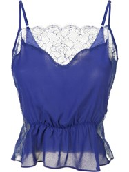 Fleur Du Mal Rose Lace Cami Women Silk Polyester M Blue