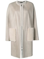 Manzoni 24 Straight Cut Coat With Fur Trimmed Pockets Neutrals