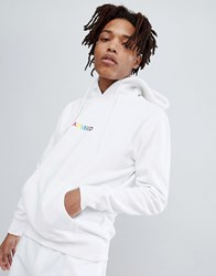 Pull And Bear Pullandbear Hoodie In White With Coloured Embroidery