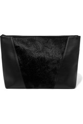Vince Calf Hair And Leather Clutch Black