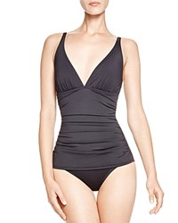 Tommy Bahama Pearl Solids V Neck One Piece Swimsuit Black