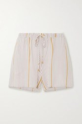 Hanro Striped Woven Shorts Ecru