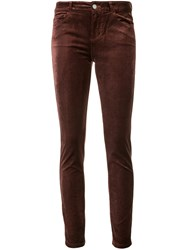 Paige Mid Rise Skinny Jeans Brown