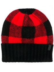 Emporio Armani Check Patterned Hat Red
