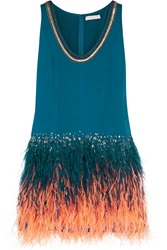 Matthew Williamson Feather Embellished Silk Moire Dress Blue