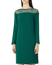Reiss Claudia Lace Detail Shift Dress Bright Emerald