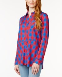 G.H. Bass And Co. Long Sleeve Button Front Plaid Top Rich Red