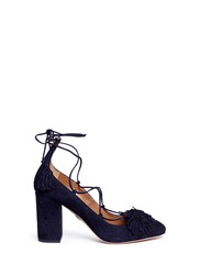 Aquazzura 'Wild 85' Lace Up Fringe Suede Pumps Blue