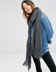Asos Long Tassel Scarf In Supersoft Knit Grey