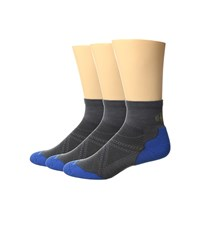 Smartwool Phd Run Elite Mini 3 Pair Pack Graphite Bright Blue Men's Low Cut Socks Shoes Black