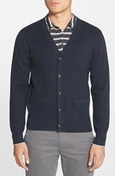 Men's Jack Spade Combed Cotton Cardigan Navy Cement Heather Grey