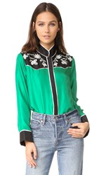 Cynthia Rowley Embroidered Yoke Silk Shirt Green