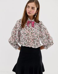 Sister Jane Blouse With Volume Sleeves And Velvet Bow In Blossom Floral Multi