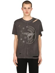 Boy London Destroyed Patchwork Jersey T Shirt Grey