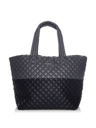 M Z Wallace Metro Large Two Tone Quilted Nylon Tote Black Grey