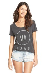 Junior Women's Rvca 'High End' Scoop Neck Tee Black