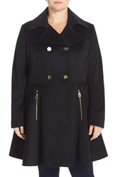 Plus Size Women's Laundry By Shelli Segal Double Breasted Skirted Wool Blend Coat Black