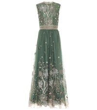 Costarellos Embroidered Tulle Gown Green