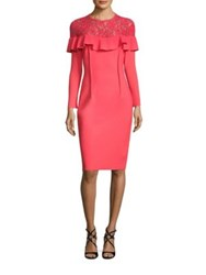 Rickie Freeman For Teri Jon Illusion Ruffled Floral Dress Coral