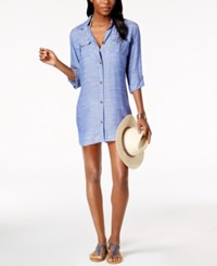 Dotti Cabana Life Shirtdress Cover Up Women's Swimsuit Blue