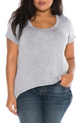 Slink Jeans Plus Size Women's High Low Scoop Neck Tee Heather Grey