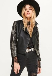 Missguided Black Sequin Sleeve Faux Leather Jacket