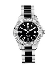 Tag Heuer Aquaracer Diamonds And Ceramic Three Row Bracelet Watch Way131eba091 Black