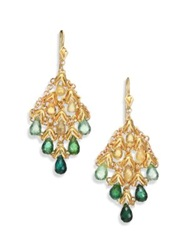 Anthony Camargo Yellow Beryl Green Tourmaline And 14K Yellow Gold Kite Chandelier Earrings Gold Green