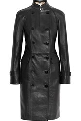 Alexander Mcqueen Double Breasted Leather Coat Black