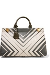 Anya Hindmarch Ephson Printed Textured Leather Tote Off White